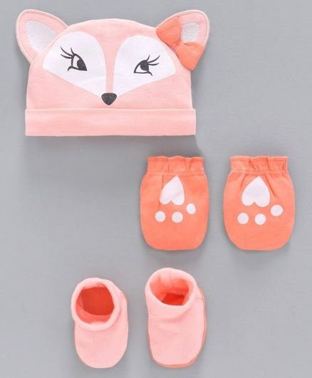 Babyoye Cap Mittens and Booties Set Kitty Print - Peach