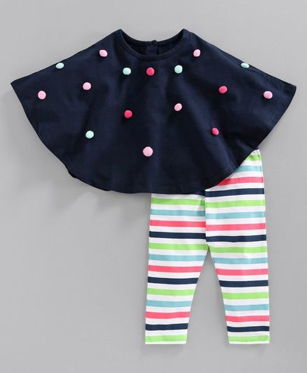 Babyoye Cotton Pom Pom Embroidered Poncho with Striped Leggings - Navy Blue