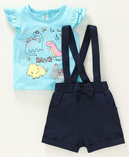 Babyoye Cotton Flutter Sleeves Top with Shorts & Suspenders Dino Print - Blue