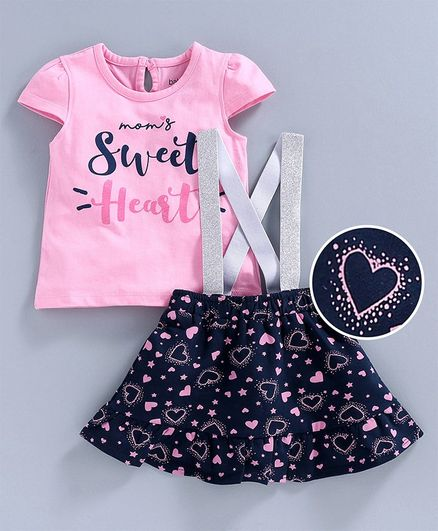 Babyoye Cotton Lycra Cap Sleeves Top and Skirt with Suspenders Sequins Design - Pink