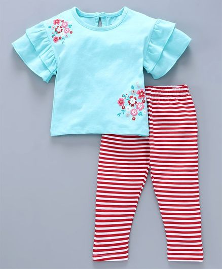 Babyoye Half Sleeves Winter Wear Cotton Top and Legging Set Floral Print - Blue