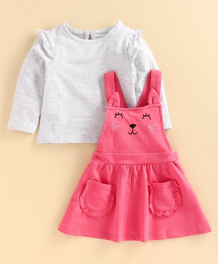 Babyoye Cotton Frock With Inner Tee Kitty Design - Light Grey Pink
