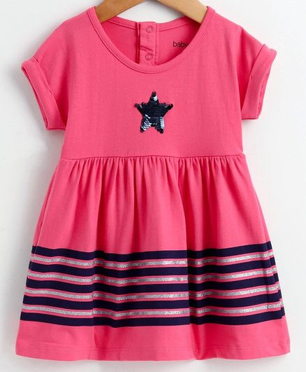 Babyoye Cotton Short Sleeves Frock Sequinned Star Detailing - Pinkj
