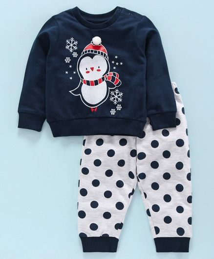 Babyoye Cotton Full Sleeves Tee with Lounge Pant Panda Print - Navy Blue Grey