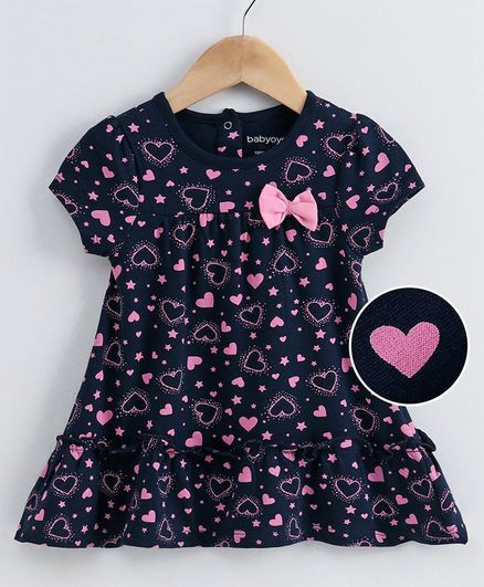 Babyoye Cotton Lycra Puffed Sleeves Frock Heart Print - Navy Blue