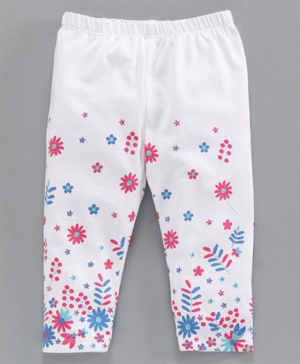 Babyoye Full Length Leggings Floral Print - White