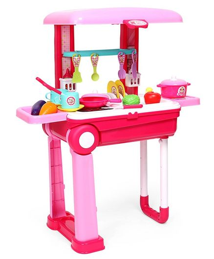 Rising Step Trolly kitchen Set with Light & Music - Pink Red