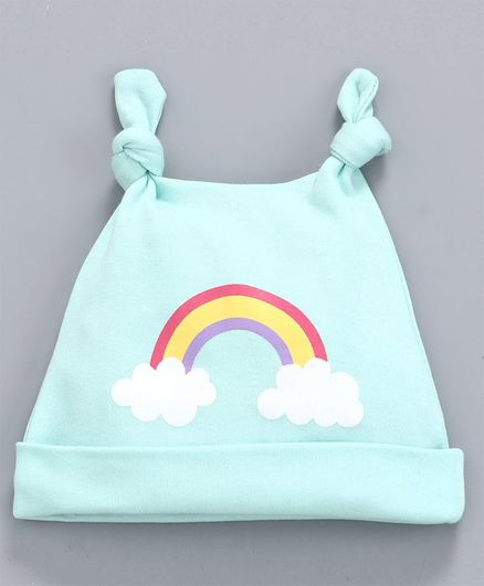 Babyhug 100% Cotton Cap Rainbow Print Sea Green  - Diameter 9.5 cm