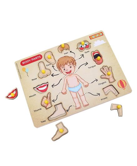 Omocha Body Parts Pegged Puzzle Brown - 10 Pieces