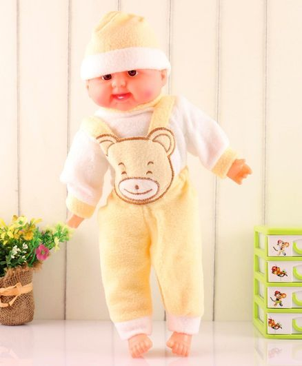 ToyMark Baby Doll with Bear Patch Yellow White - Height 34 cm