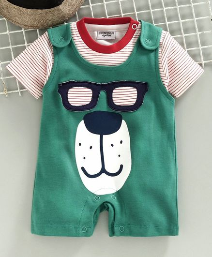 Wonderchild Half Sleeves Tee With Bear Face Patch Romper - Green