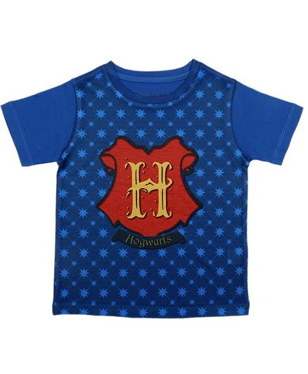 Harry Potter By Crossroads Half Sleeves Hogwarts Print Tee - Blue