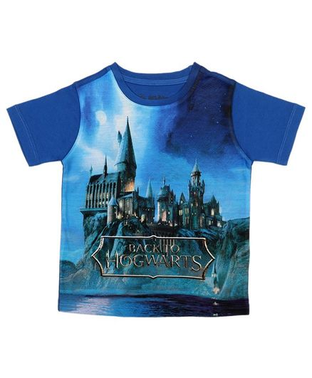 Harry Potter By Crossroads Half Sleeves Back To Hogwarts Print Tee - Blue