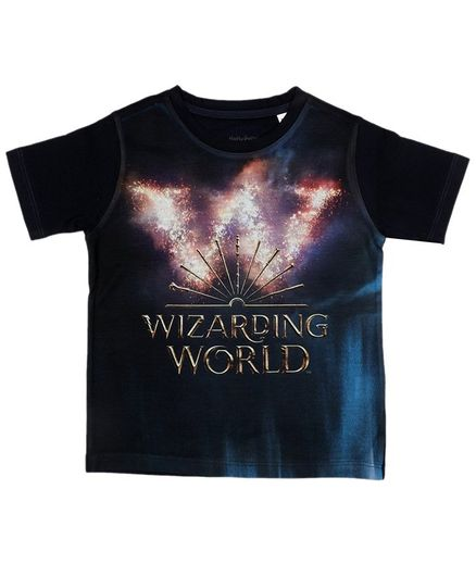 Harry Potter By Crossroads Half Sleeves Wizarding World Print Tee - Black