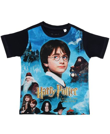 Harry Potter By Crossroads Half Sleeves Characters Print Tee - Blue