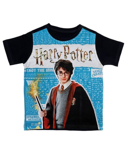 Harry Potter By Crossroads Half Sleeves Character Print Tee - Blue