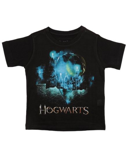Harry Potter By Crossroads Half Sleeves Hogwarts Print Tee - Black