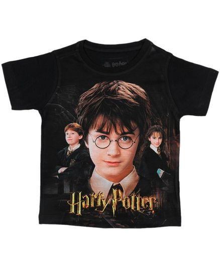 Harry Potter By Crossroads Half Sleeves Character Print Tee - Black