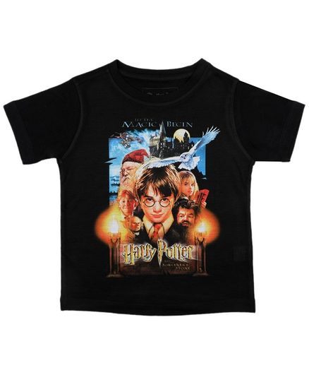 Harry Potter By Crossroads Half Sleeves Characters Print Tee - Black