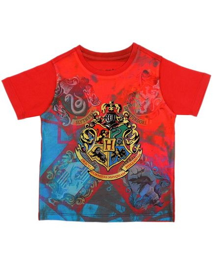 Harry Potter By Crossroads Half Sleeves Logo Print Tee - Red
