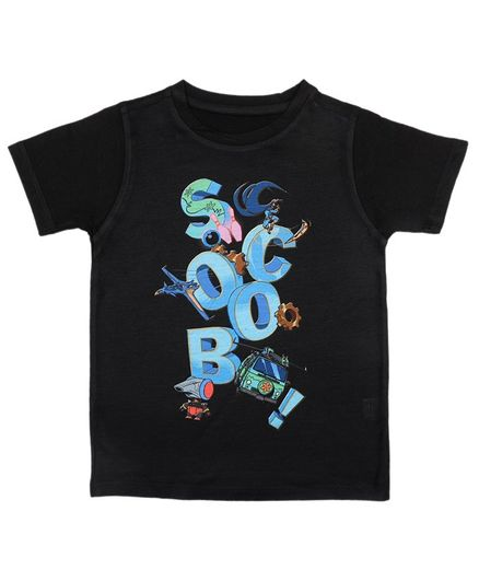 Scooby-Doo By Crossroads Half Sleeves Text Print Tee - Black