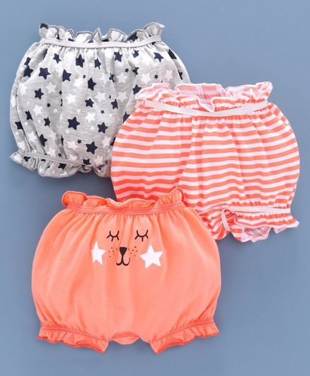Babyoye Cotton Bloomer Star Print  Pack of 3  - Grey Peach