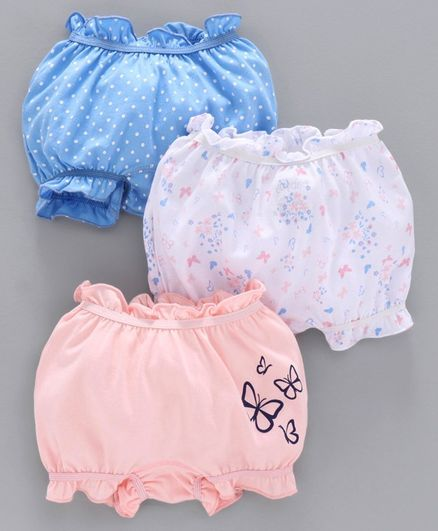 Babyoye Cotton Bloomer Butterfly Print Pack of 3 - Pink White Blue