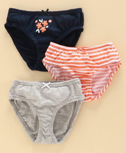 Babyoye Cotton Panties Striped & Printed Pack of 3 - Navy Grey Orange