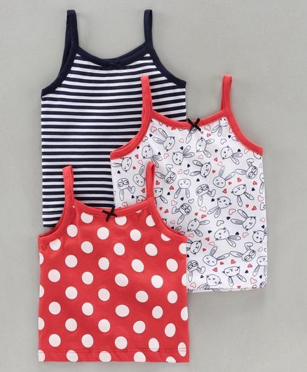 Babyoye Singlet Printed & Striped Camisole Pack of 3 - White Red