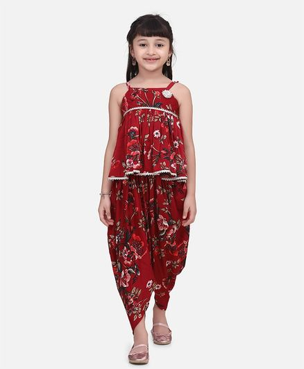 Cutiekins Sleeveless Floral Printed Ruffled Top With Dhoti Set - Maroon
