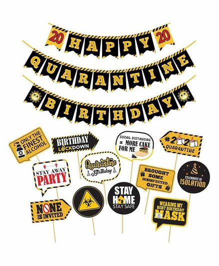 Party Propz Happy Quarantine 2020 Birthday Kit Black - Pack of 13