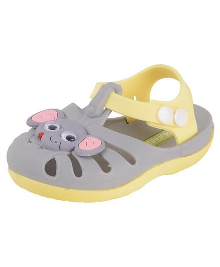 Yellow Bee Elephant Design Detailing Sandals - Grey