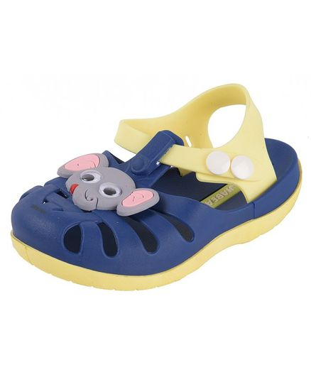 Yellow Bee Elephant Design Detailing Sandals - Navy Blue