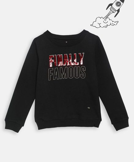 Elle Kids Full Sleeves Finally Famous Print Sweatshirt - Black