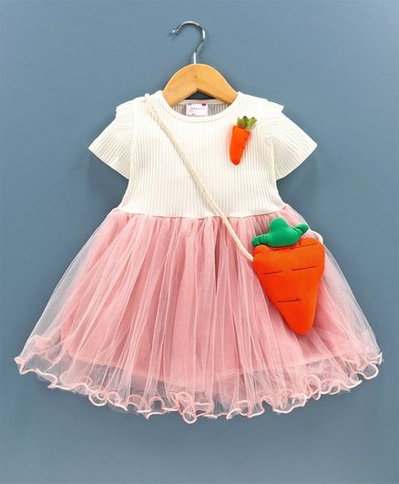 Rassha Carrot Decorated Half Sleeves Dress With Bag - White