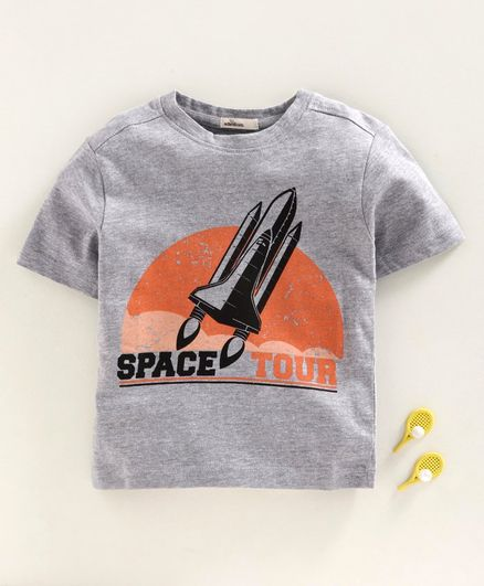 Adams Kids Half Sleeves Space Tour Print Tee - Grey