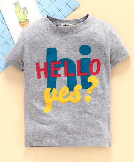 Adams Kids Half Sleeves Hello Yes Print Tee - Grey