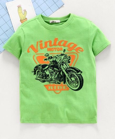 Adams Kids Half Sleeves Vintage Print Tee - Green