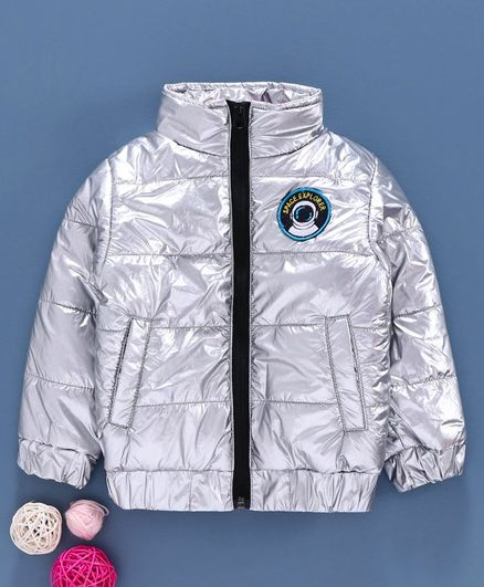 Babyhug Full Sleeves Quilted Jacket - Silver