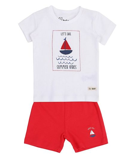 GINI & JONY Short Sleeves Let's Sail Print Tee With Shorts - White Red