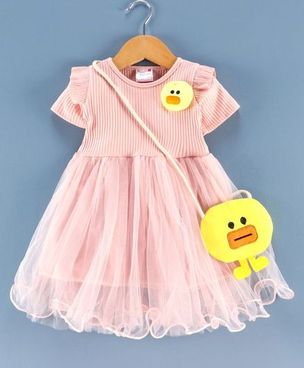 Rassha Short Sleeves Duck Design Dress With Bag - Pink