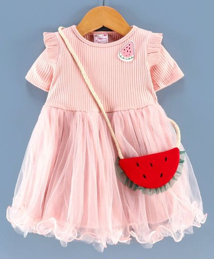Rassha Strawberry Patch Half Sleeves Dress With Bag - Pink