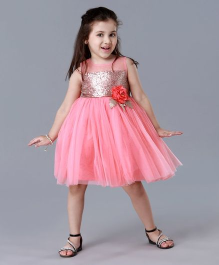 Babyhug Sleeveless Party Wear Frock Sequin Design - Coral