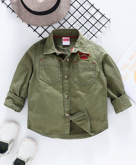 Babyhug Full Sleeves Solid Shirt with Forest Embroidered Patch - Olive Green