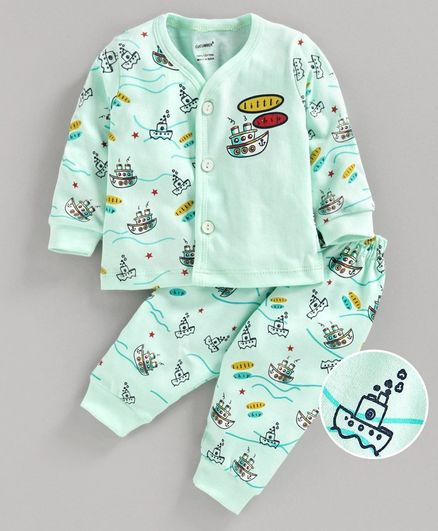 Cucumber Full Sleeves Night Suit Ship Print - Green