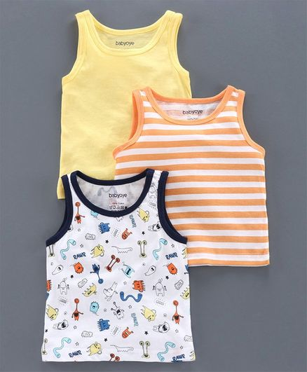 Babyoye Sleeveless Cotton Vest Pack of 3 - Yellow