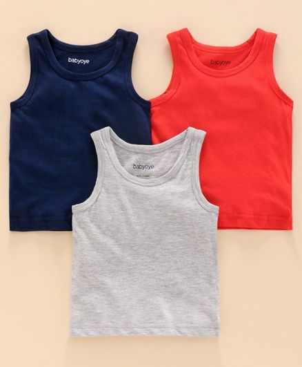 Babyoye Cotton Sleeveless Vest Pack of 3 - Red Blue White Melange