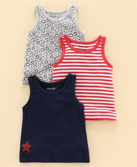 Babyoye Sleeveless Cotton Vest Pack of 3 - Multicolor