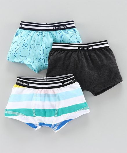 Babyoye Cotton Trunks Pack of 3 - Blue Black