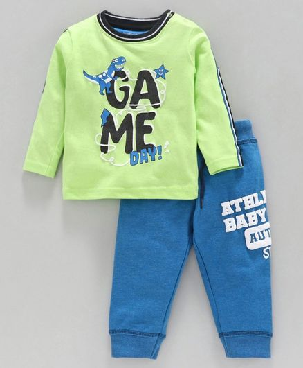 Babyoye Cotton Blend Full Sleeves Tee & Lounge Pant Game Day Print - Green Blue